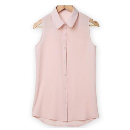Women Sleeveless Turn-down Chiffon Blouse Summer Shirt Blush Solid Vest Tops-Blouse-SheSimplyShops