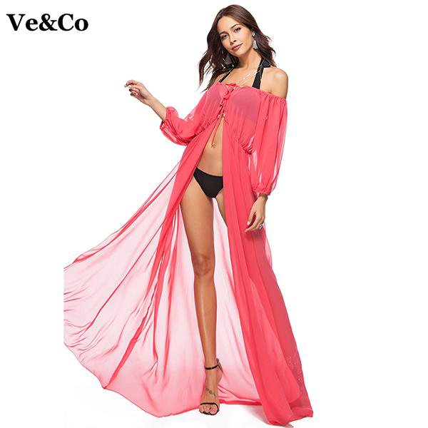 Summer New Bathing Suit Cover Up Beach Cover Up Long Beach Dress Women Swimwear Off Shoulder Net Yarn Bikini Cover Up-Dress-SheSimplyShops