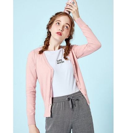 SEMIR Knitted Cardigan sweater Women Spring Simple Solid Straight Bottom Clothing Sweater Cardigan for Female