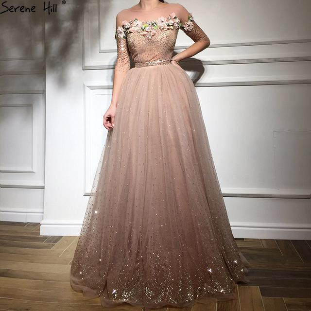 New Fashion Half Sleeves Evening Dresses Beach Flowers Crystal Sparkle Formal Evening Gowns-SheSimplyShops