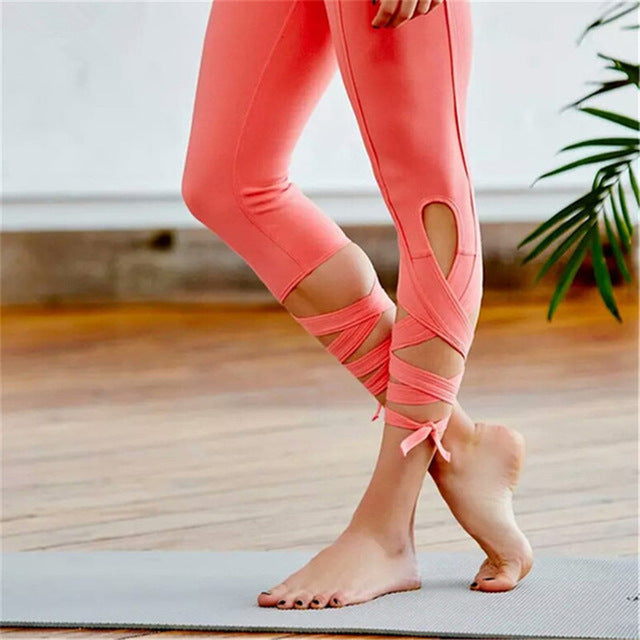 Oyoo plus size high quality solid pink workout gym pants cross tie high waist ballet yoga pants capris pink athletic tighs