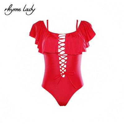 Women One Piece Suits Ruffle Beach Solid Bodysuit-SWIMWEAR-SheSimplyShops