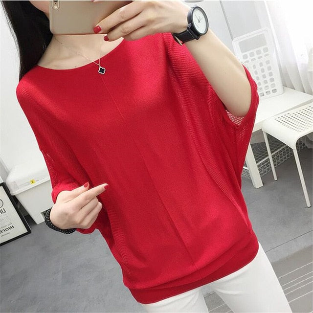 Thin sweater for women summer Bat sleeve Knitting sunscreen clothing pullovers Plus size female short sleeve Hollow top1835