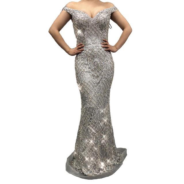Silver Fashion Sexy Mermaid Evening Dresses Diamond Sequined Off Shoulder Evening Gowns-SheSimplyShops