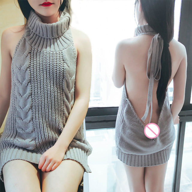 Coser Females Crochet Turtleneck Hollow Sweater Summer Virgin Killer Pullovers Japanes Knitted Backless Women Sweaters