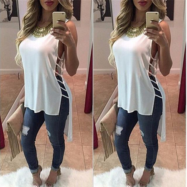 Summer Sexy Womens Blouses Fashion sleeveless Body Shirt Women Shirts Tops Formal Blouse Clothing-Blouse-SheSimplyShops
