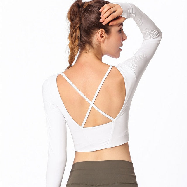 Backless Cross Slim Workout Yoga Shirts Long Sleeve Padded Fitness Cropped Sports Bra For Women Gym Crop Top Sport Shirt