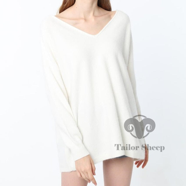 18 sweater women 100% pure cashmere sweater loose pullover female sexy v neck knitting pullovers oversized sweater wool