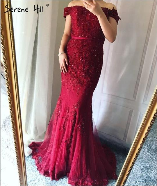 Mermaid Lace Sexy Diamond Evening Gowns Long Evening Dress For Women-SheSimplyShops