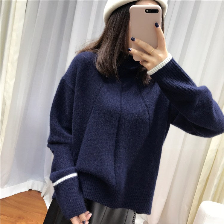 women sweater winter Double thickening loose turtleneck cashmere sweater female long sleeve casual knit pullover