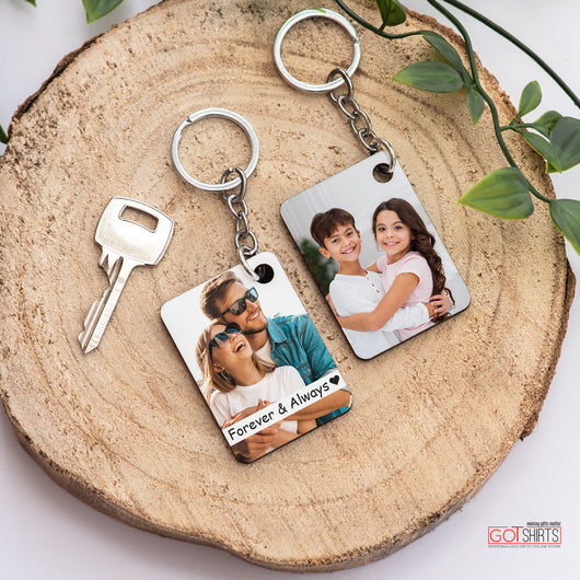 Rectangle Wooden Keyring (1 side print)-GOTShirts - Personalized Gifts