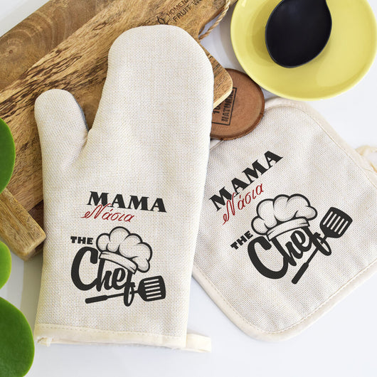 Linen Oven Mitt and Pot Holder set-GOTShirts - Personalized Gifts