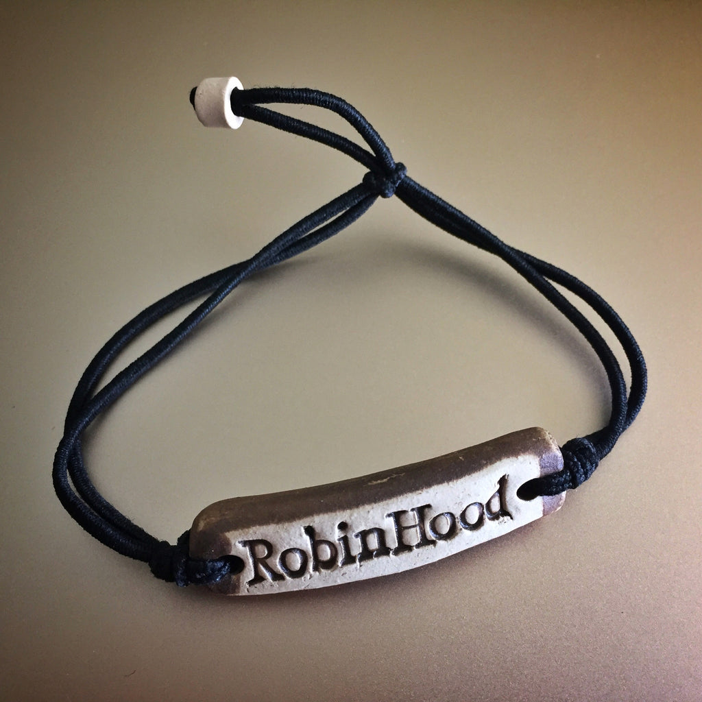Black Be Robin Hood Feather MudLove Charity Clay Bracelet