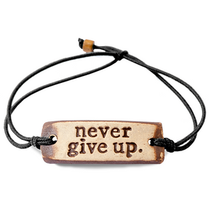 Be Robin Hood Never Give Up Feather MudLove Charity Clay Bracelet