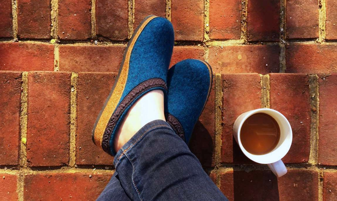 Cozy turquoise wool clogs from Stegmannusa.com