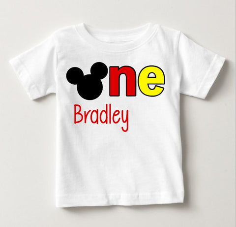 Personalized Mickey Mouse First Birthday T Shirt