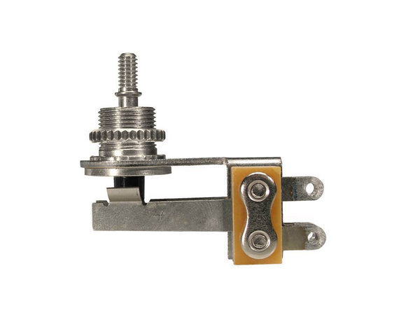 toggle switch 3-way angled, no cap, for thin body guitars (SG, Explorer, Firebird), nickel