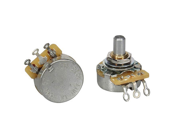 "250K audio potentiometer, solid shaft, short bushing .250"", 3/8"" diameter, pickguard mount"