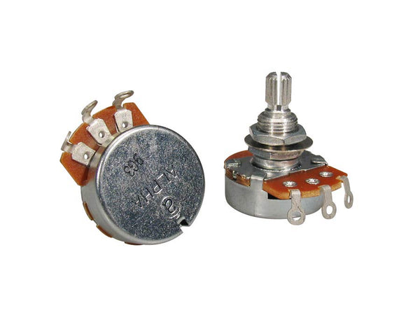 "250K audio potentiometer, standard length bushing .375"", 3/8"" diameter"