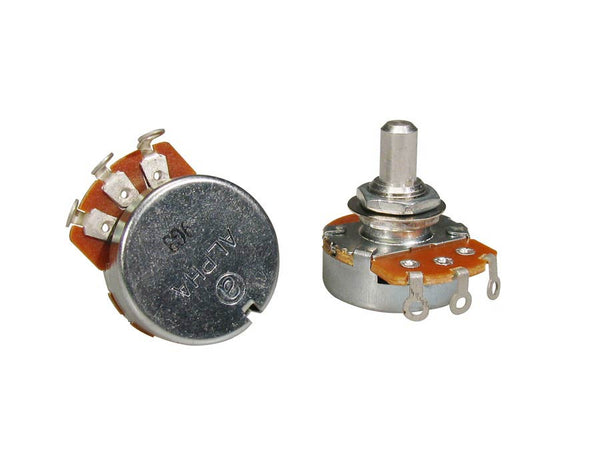"250K linear potentiometer, solid shaft, short bushing .250"", 3/8"" diameter, for pickguard mount"