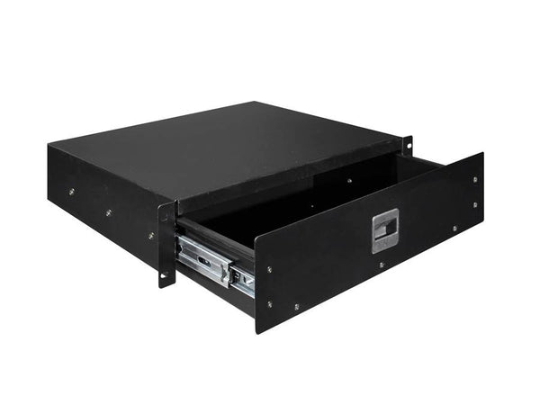 19 inch rack drawer 2HE with lift lock, internal height 73mm