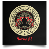 "NAMASTE OM WE ARE ONE BUDDHA - Satin Square Poster 16""x16"""