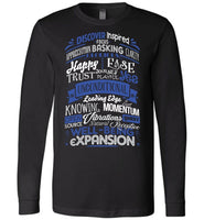 ABC through Z Feel Good Typography * Abraham-Hicks Inspired * Unisex Men Women Tee / Long Sleeve T-Shirt - Blue/White Print-YogaStatement.com