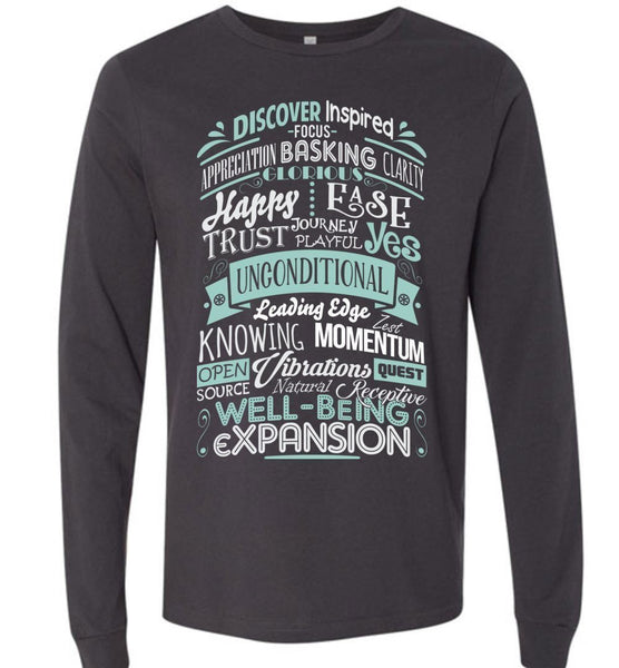 ABC through Z Feel Good Typography * Abraham-Hicks * Unisex Men Jersey T-Shirt / Women Tee / Long Sleeve Shirt - Teal/White Print-YogaStatement.com