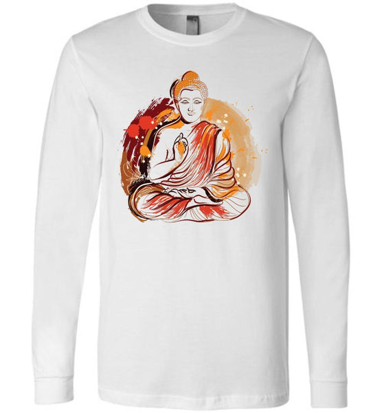 Buddha Meditation Grunge Paint Splash * Unisex Men Long Sleeve Jersey T-Shirt-YogaStatement.com
