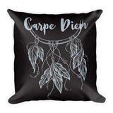 "CARPE DIEM Pillow (Cover & Inserts) * All Over Silky Printed on Both Sides * 18""X18"" - Silver Print-YogaStatement.com"