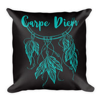 "CARPE DIEM Pillow (Cover & Inserts) * All Over Silky Printed on Both Sides * 18""X18"" - Teal Print-YogaStatement.com"