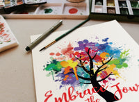 EMBRACE THE JOURNEY Paint Splash Tree of Life Yoga Inspired - Wall Art Poster-YogaStatement.com