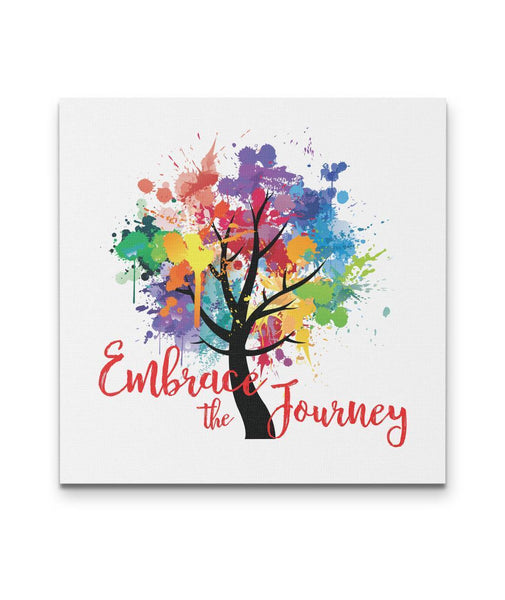 EMBRACE THE JOURNEY Tree Of Life Watercolor - Square Luxury High Quality Canvas Wall-YogaStatement.com