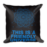 "FRIENDLY UNIVERSE Pillow (Cover & Inserts w/Zipper) * All Over Silky Printed on Both Sides * 18""X18"" - Blue Print-YogaStatement.com"