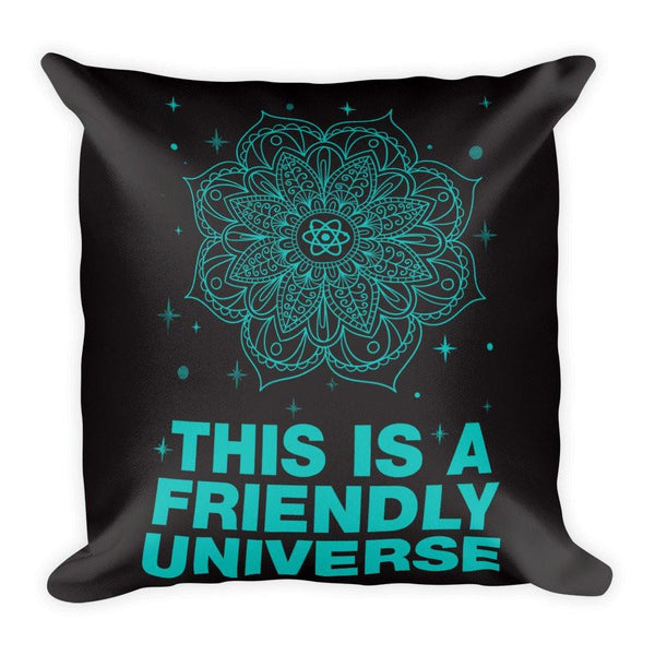 "FRIENDLY UNIVERSE Pillow (Cover & Inserts w/Zipper) * All Over Silky Printed on Both Sides * 18""X18"" - Teal Print-YogaStatement.com"