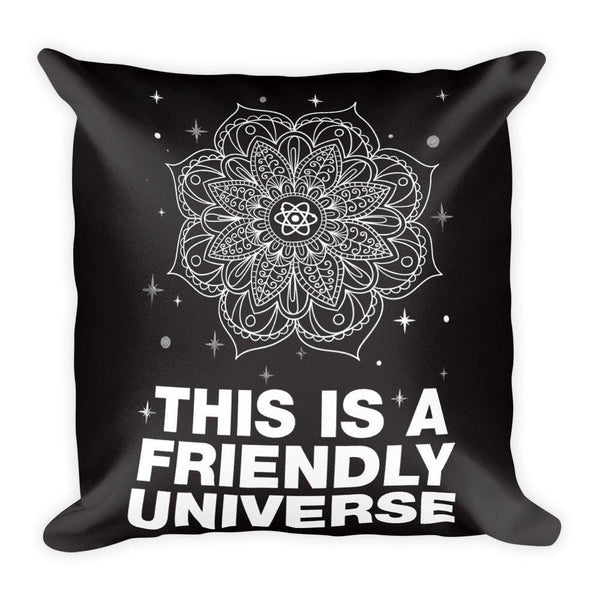 "FRIENDLY UNIVERSE Pillow (Cover & Inserts w/Zipper ) * All Over Silky Printed on Both Sides * 18""X18"" - White Print-YogaStatement.com"