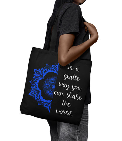 "IN A GENTLE WAY... Lotus Mandala * Unique Attractive Gift * Tote Bag 18""X18""-YogaStatement.com"