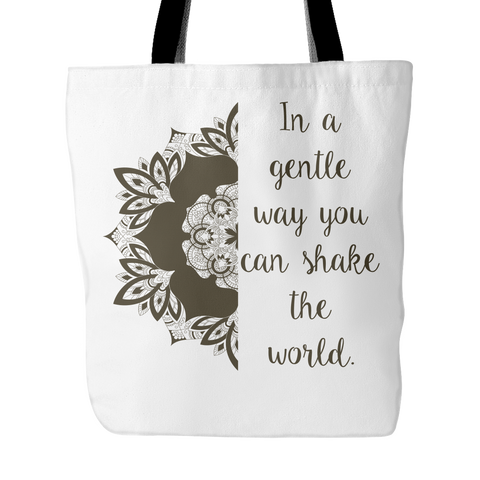 "IN A GENTLE WAY YOU CAN SHAKE THE WORLD Lotus Mandala * Unique Attractive Gift * Tote Bag 18""X18"" (Soft Black Print)-YogaStatement.com"