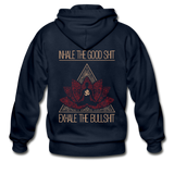 INHALE THE GOOD SHIT EXHALE THE BULLSHIT Heavy Blend Adult Zip Hoodie (Back Print) - SP-YogaStatement.com