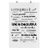 LIFE IS BEAUTIFUL In 15 Languages - Wall Art Poster-YogaStatement.com