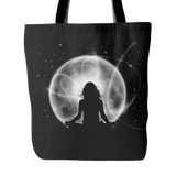 "LOVING WHAT IS Girl Meditating in Moonlight * Unique Attractive Gift * Tote Bag 18""X18""-YogaStatement.com"