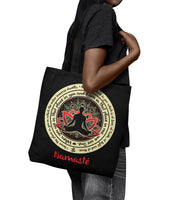 "NAMASTE WE ARE ONE * Buddha Lotus Mandala * Attractive Yoga Gift * Black Tote Bag 18""X18""-YogaStatement.com"