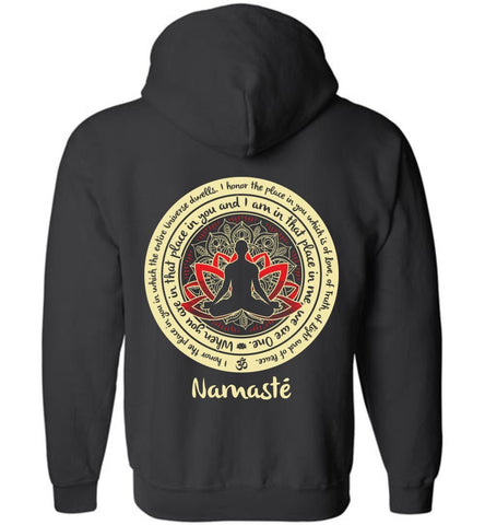 NAMASTE WE ARE ONE * Buddha Zen Saying * Unisex Men Full Zip Hoodie-YogaStatement.com