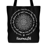 "NAMASTE WE ARE ONE Lotus Mandala* Unique Attractive Yoga Gift * Black Tote Bag 18""X18""-YogaStatement.com"