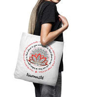 "NAMASTE WE ARE ONE Lotus Mandala* Unique Attractive Yoga Gift * White Tote Bag 18""X18""-YogaStatement.com"