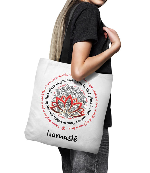 "NAMASTE WE ARE ONE * Lotus Mandala * Unique Attractve Yoga Gift * Tote Bag 18""X18""-YogaStatement.com"