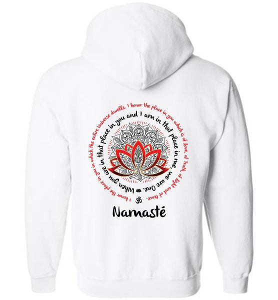 NAMASTE WE ARE ONE * Meditation Yoga Lotus Mandala * Unisex Men Full Zip Hoodie (Red/Black Print)-YogaStatement.com