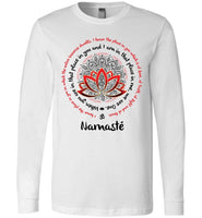 NAMASTE WE ARE ONE Om Lotus Mandala Circle * Unisex Men Jersey T-Shirt / Women Tee / Long Sleeve Shirt - Red/Black Print-YogaStatement.com