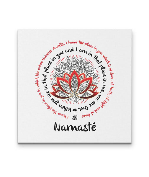 NAMASTE WE ARE ONE Red Black Mandala - Square High Quality Canvas Wall Art-YogaStatement.com