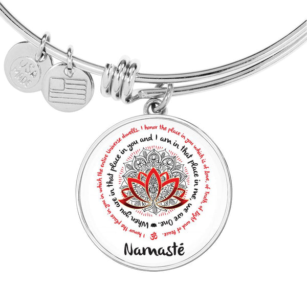 NAMASTE WE ARE ONE Yoga Saying - High Quality Circle Pendant Luxury Bangle-YogaStatement.com